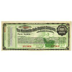 Mercantile Safe Deposit Company, 1000 Ounces Silver Bullion, 18xx (ca.1880-90's) Specimen Certificat