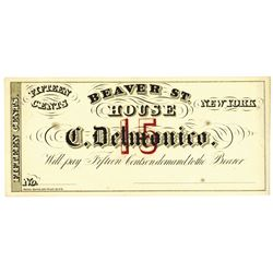 Beaver St. House (C. Delmonico). ND (ca.1840-60's). Unissued Note.