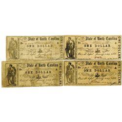 State of North Carolina, 1861 Obsolete Scrip Note Quartet
