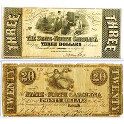 State of North Carolina, 1862 & 1863 Obsolete Banknote Pair