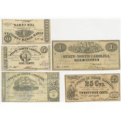 State of North Carolina, 1862 & 1863 Obsolete Banknote Quintet.