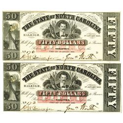 State of North Carolina, 1863 Obsolete Banknote Pair
