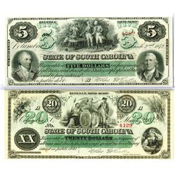 South Carolina. State of South Carolina, 1872 Obsolete Scrip Note Pair