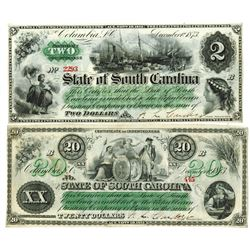 South Carolina. State of South Carolina, 1873 Obsolete Banknote Pair