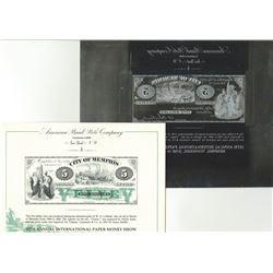City of Memphis $5. 1866. ABNC IPMS Souvenir Card Printing Plate. ABNC. 1991.