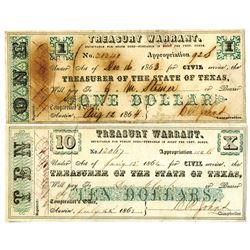 Treasurer of the State of Texas, 1863 & 1864 Obsolete Scrip Pair