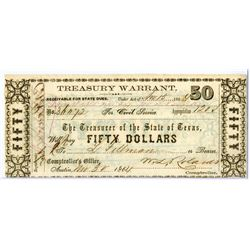 Treasurer of the State of Texas, 1864, Obsolete Scrip Note