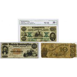 Virginia Treasury Note, 1861-1862 Obsolete Banknote Trio