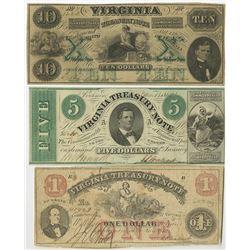 Virginia Treasury Note, 1862 Obsolete Banknote Trio.