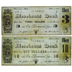 Merchants Bank. 1864. Lot of 2 Issued College Currency Notes.