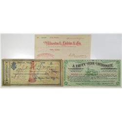 Advertising Banknotes and Trade Coupons Trio of Issued Checks & Exchanges, ca.1880-90s