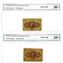 Fr. 1228 and Fr. 1229, 5¢ First Issue Pair, Fractional Currency, Both Perforated CGA VF 20* and  VF