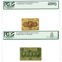 Fr. 1231, 5¢  and Fr. 1313, 50¢ First Issue Pair, Fractional Currency, Both Imperf, PCGS EF 45 PPQ a