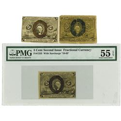 """Fr. 1233, 5¢ Second  Issue, Fractional Currency, Washington, Red Back, Surcharge """"18-63"""", PMG AU 55"""