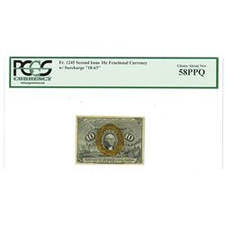"""Fr. 1245, 10¢ Second  Issue, Fractional Currency, Washington, Green Back, Surcharge """"18-63"""", PCGS Ch"""