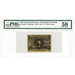 """Fr. 1322, 50¢ Second  Issue, Fractional Currency, Washington, Surcharge """"18-63"""" and """"T-1"""" on Fiber P"""