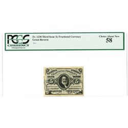 Fr. 1238, 5¢ Third  Issue, Fractional Currency, Justice, Green Reverse, PCGS Choice AU 58.