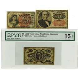 Fr. 1251, 1259 and 1309 Fractional Currency Trio.