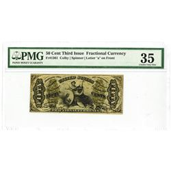 """Fr. 1361, 50¢ Third  Issue, Fractional Currency, Justice Letter """"a"""" on Face, PMG Choice VF 35."""