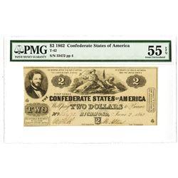 C.S.A., 1861, $2, T-42, PMG AU 55 EPQ.