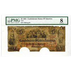C.S.A., 1861, $5, T-31, PMG VG 8.