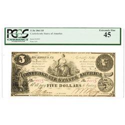 C.S.A., 1861, $5, T-36, PCGS EF 45.