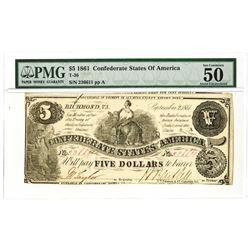 C.S.A., 1861, $5, T-36, PMG AU 50.