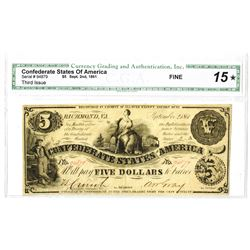 C.S.A., 1861, $5, Third Issue, CGA Fine 15.