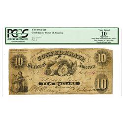 C.S.A., 1861, $10, T-10, PCGS Choice VG 10.
