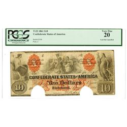 C.S.A., 1861, $10, T-22, PCGS VF 20.