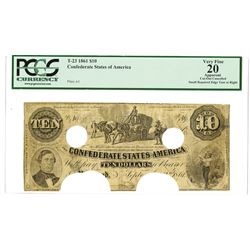 C.S.A., 1861, $10, T-23, PCGS VF 20.
