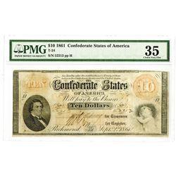 C.S.A., 1861, $10, T-24, PMG 35 Choice VF 35.