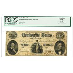 C.S.A., 1861, $10, T-25, PCGS VF 25.