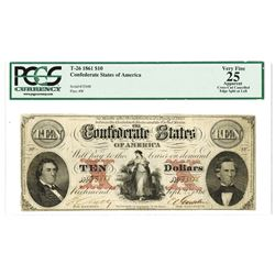 C.S.A., 1861, $10, T-26, PCGS VF 25.