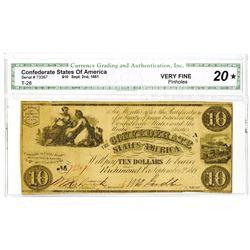 C.S.A., 1861, $10, T-28, CGA VF 20.