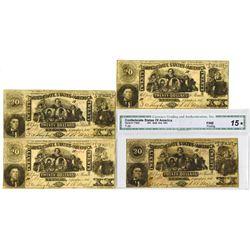 C.S.A., 1861, $20, T-20, Banknote Quartet