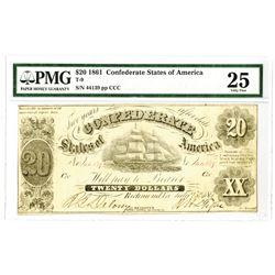 C.S.A., 1861, $20, T-9, PMG Choice VF 25.