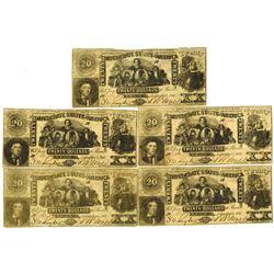 C.S.A., 1861, $20, T-20, Banknote Quintet