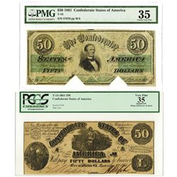 C.S.A., 1861, $50, T-14 and T-16 Banknote Pair