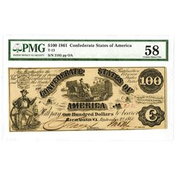 C.S.A., 1861, $100, T-13, PMG Choice AU 58.