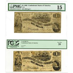 C.S.A., 1862 $1, T-44 Banknote Pair