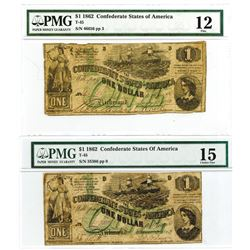 C.S.A., 1862 $1, T-45 Banknote Pair
