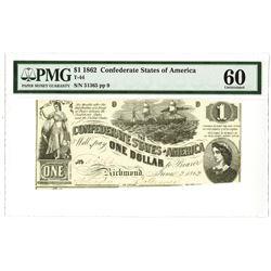 C.S.A., 1862, $1, T-44, PMG Unc 60.