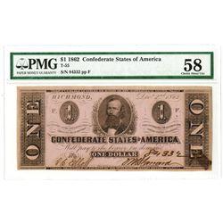 C.S.A., 1862, $1, T-55, Clement C. Clay, PMG Choice AU 58.
