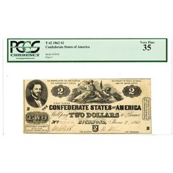 C.S.A., 1862, $2, T-42, PCGS VF 35.
