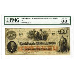 C.S.A., 1862-63, $100, T-41, PMG AU 55.