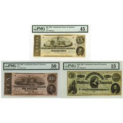 C.S.A., 1862 $5 to $100, T49; T-51 (2); T-52; andT-53 Banknote Quintet