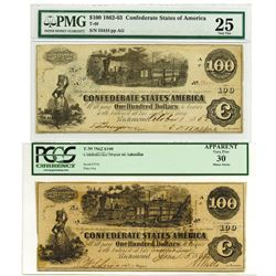 C.S.A., 1862-63 $100, T-39 and T-40 Banknote Pair