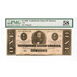 C.S.A., 1863, $1, T-62, Clement C. Clay, PMG Choice AU 58.