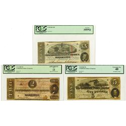 C.S.A., 1863 $2, $5, $20, T-61; T-60 and T-58 Banknote Trio